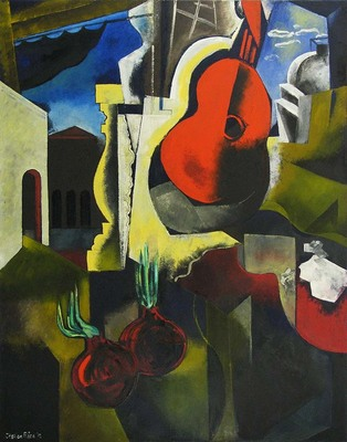 Title: GUITAR ROUGE , Size: 60 X 48 , Medium: Oil on Canvas