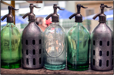 Title: BUENOS AIRES SELTZER BOTTLES-SILVER & GREEN , Size: 40.125 X 60.625; 49 X 69.25 , Medium: Photograph on Paper , Price: $4,800