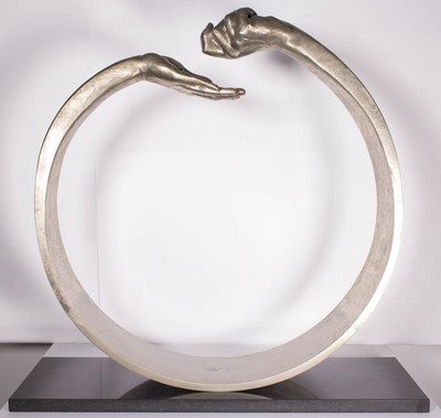 Title: GIVE AND TAKE III , Size: 34.5 X 35.25 X 11.25 , Medium: Bronze