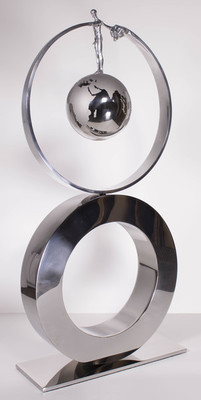 Title: WHAT GOES AROUND COMES AROUND* , Size: 41 X 19.5 X 7 , Medium: Aluminum and Stainless Steel