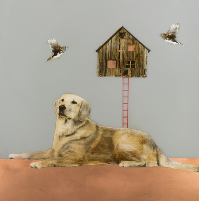 Title: DOG WITH HOUSE AND BIRDS , Size: 48 X 48 , Medium: Mixed Media on Wood , Price: $9,000