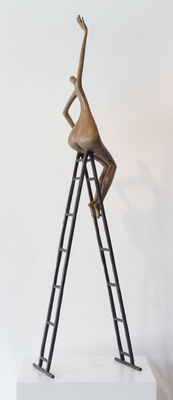 Title: REACHING OUT , Size: 43.5 X 11.5 X 8 , Medium: Bronze