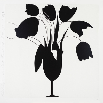 Title: BLACK TULIPS AND VASE , Size: 46 X 46, 52.75 X 52.75 , Medium: Color Screenprint and Flocking