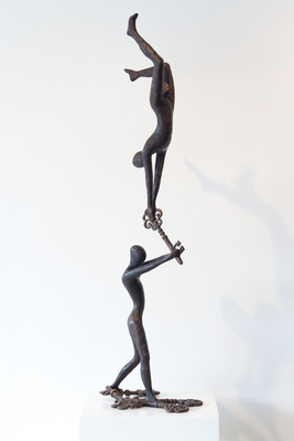 Title: KEY TO HAPPINESS , Size: 35 X 10.25 X 8.25 , Medium: Bronze
