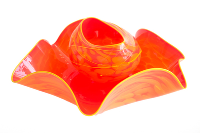 Title: NESTING RUFFLE BOWL , Size: 8 X 20 X 18 , Medium: Handblown Glass , Price: $2,100