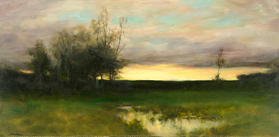 Title: DUSK REFLECTIONS , Size: 20 X 40 , Medium: Oil on Canvas