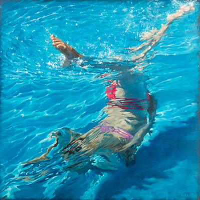Title: ANGLING , Size: 40 X 40, 43 X 43 , Medium: Oil on Canvas