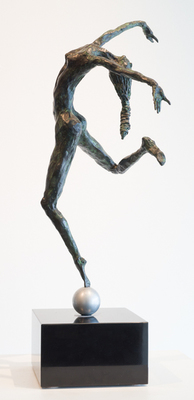 Title: DANCER ON ALUMINUM BALL , Size: 26 X 12 X 12 , Medium: Bronze , Price: $6,800