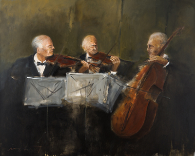 Title: MUSICIAN TRIO , Size: 48 X 60, 50 X 62 , Medium: Oil on Canvas , Price: $9,800