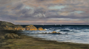 Title: COAST AT DAYBREAK , Size: 16 X 29 , Medium: Oil on Canvas