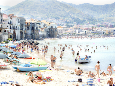 Title: SUNBATHERS OF CEFALU , Size: 43 X 57.75, 45 X 59.75 , Medium: Archival Inkjet Print Face-mounted to Plexiglass