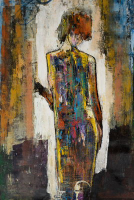 Title: SOLITARY WOMAN XXIII , Size: 45 X 30 , Medium: Mixed Media on Canvas , Price: $3,600