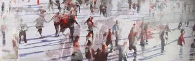 Title: CROWD WITH SHADOWS , Size: 24 X 78, 25.75 X 79.75 , Medium: Oil on Screen on Panel