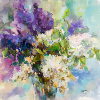 Title: NOTHING BUT LILACS 2 , Size: 30 X 30, 32.5 X 32.5 , Medium: Oil on Canvas , Price: $8,400