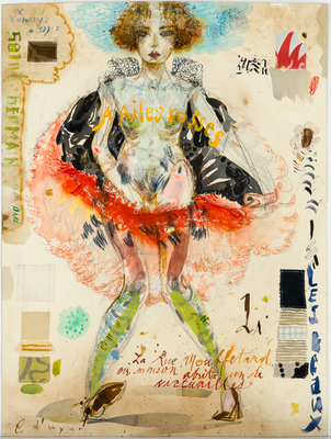 Title: MOULIN ROUGE GRAND CI , Size: 24 X 18, 31 X 25 , Medium: Mixed Media on Paper , Price: $3,400