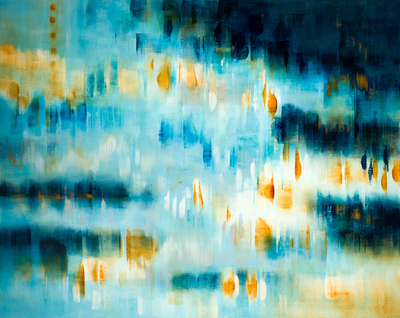 Title: A BLUE ESCAPE , Size: 48 X 60, 51 X 62.5 , Medium: Oil on Canvas , Price: $11,750