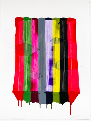 Title: FILS I COLORS CCCLXXI , Size: 30.25 X 22.5, 34 X 26.5 , Medium: Mixed Media on Paper , Price: $2,500