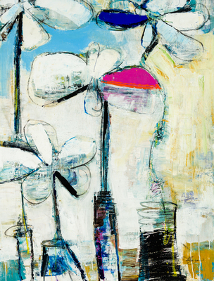 Title: FLEURS ABSTRACTO III , Size: 38 X 29 , Medium: Oil on Canvas , Price: $2,800