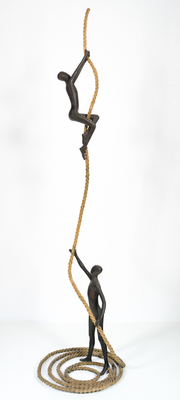 Title: TEAMWORK , Size: 71 X 17 X 17 , Medium: Bronze
