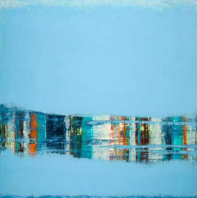Title: HARBOR REFLECTIONS , Size: 48 X 48, 50.5 X 50.5 , Medium: Oil and Wax on Panel , Price: $6,500