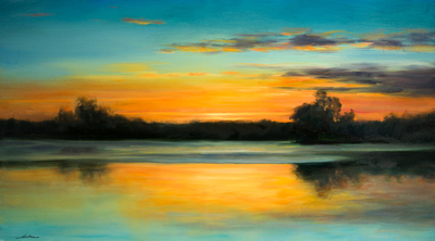 Title: TWILIGHT SKY , Size: 28 X 50 , Medium: Oil on Canvas