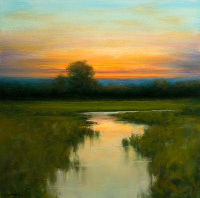 Title: REFLECTION AT DUSK , Size: 24 X 24 , Medium: Oil on Canvas