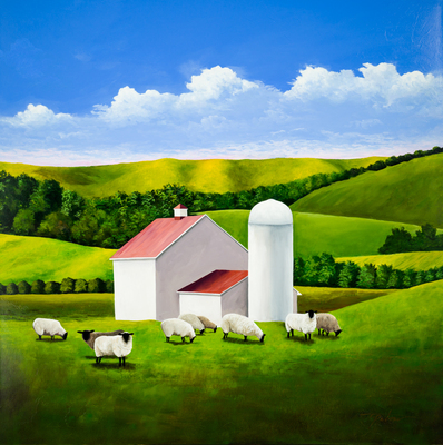 Title: SHEEP IN THE PASTURE , Size: 48 X 48, 50.5 X 50.5 , Medium: Acrylic on Canvas , Price: $6,600