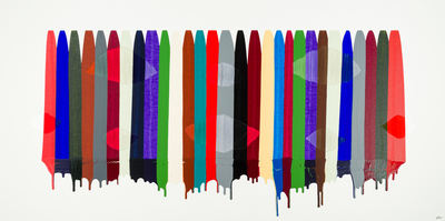 Title: FILS I COLORS CCCXCIII , Size: 36 X 72, 37.75 X 73.75 , Medium: Mixed Media on Canvas , Price: $8,600