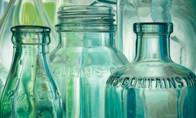 Title: VINTAGE GLASS II , Size: 40 X 66, 41.5 X 67.5 , Medium: Oil on Canvas