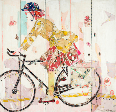 Title: BICYCLE II , Size: 63 X 65, 65.5 X 67.25 , Medium: Mixed Media on Canvas