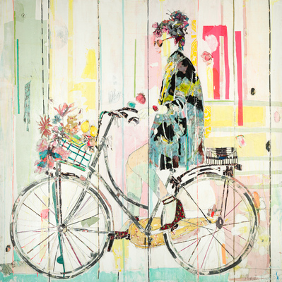 Title: BICYCLE IV , Size: 79 X 78.75, 81 X 80.75 , Medium: Mixed Media on Canvas