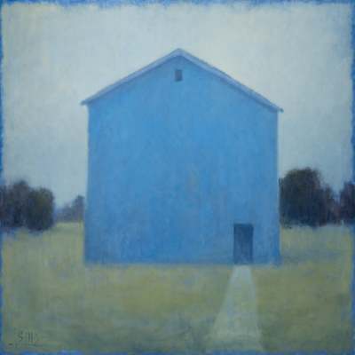 Title: BLUE BARN , Size: 48 X 48; 50.5 X 50.5 , Medium: Oil on Canvas , Price: $15,500