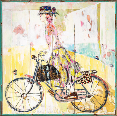 Title: BICYCLE V , Size: 71 X 71, 73 X 73 , Medium: Mixed Media on Canvas