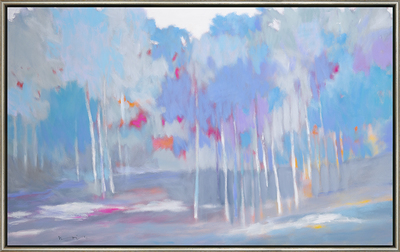 Title: BLUE BIRCH GROVE , Size: 30 X 48 , Medium: Oil on Canvas , Price: $8,600