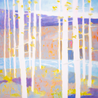 Title: BIRCHES ON THE STILLWATER , Size: 48 X 48, 50 X 50 , Medium: Oil on Canvas , Price: $10,800