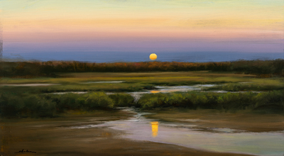 Title: EVENING ESTUARY , Size: 16 X 29, 25.25 X 38.25 , Medium: Oil on Board
