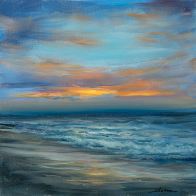 Title: CERULEAN SUNSET , Size: 12 X 12 , Medium: Oil on Canvas