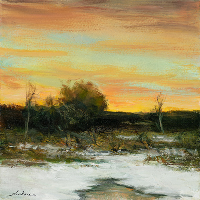 Title: WINTER'S POND , Size: 10 X 10, 15 X 15 , Medium: Oil on Canvas