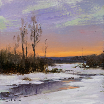 Title: FROZEN SUNSET , Size: 10 X 10, 15 X 15 , Medium: Oil on Board