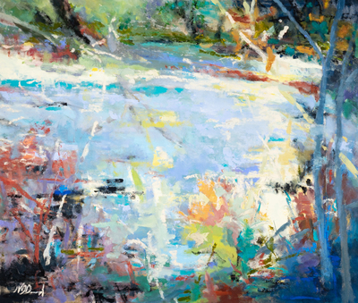 Title: RIVER REFLECTIONS , Size: 47 X 55, 49 X 57 , Medium: Oil on Canvas