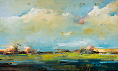 Title: SPRING RISE , Size: 36 X 60, 38 X 62 , Medium: Oil on Canvas