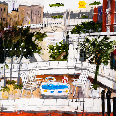 Title: POOL TIME , Size: 30 X 30; 32.5 X 32.5 , Medium: Mixed Media on Panel