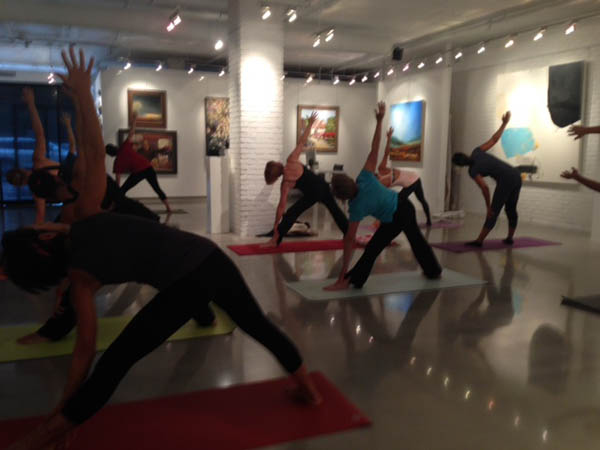 The first session of the Art of Yoga at Renaissance Fine Arts