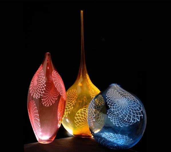 "McFadden, ""Reticello Disc Vessels"", Handblown Glass"