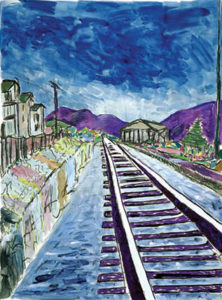 "Dylan, ""Train Tracks"", Giclee on Paper, 48 x 36 in."