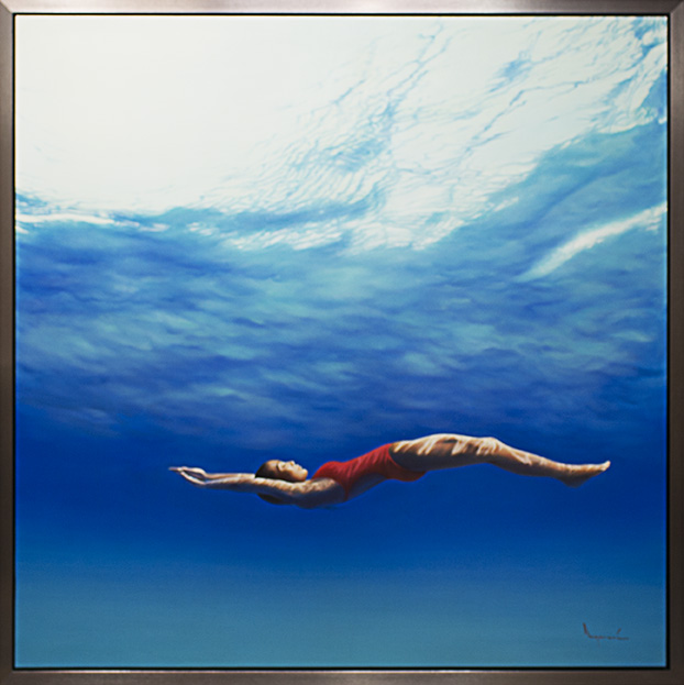 """Ngurah, """"In the Blue"""", Oil on Canvas, 74x 74in."""