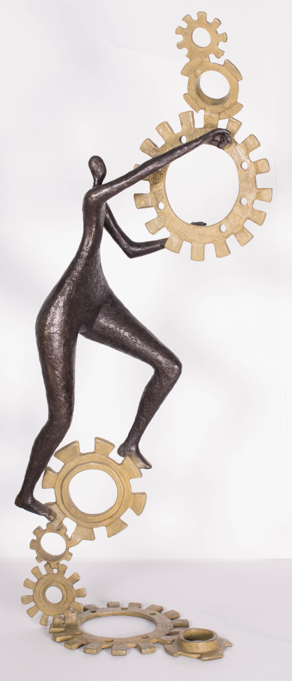 """Tolla, """"Obeying Universal Law"""", Bronze, 31 X 7.5 X 11.5 in"""