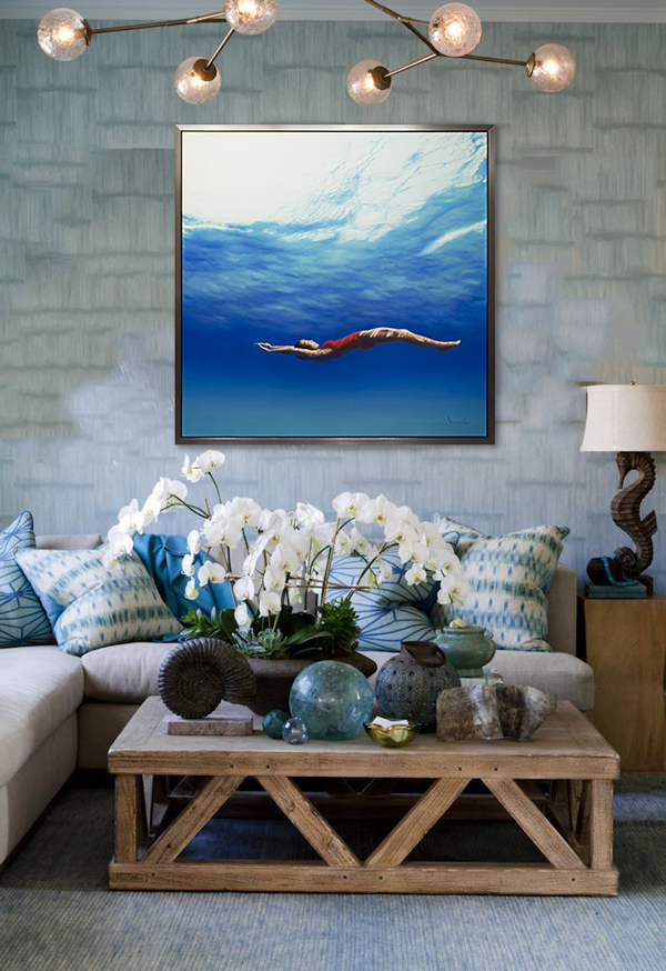 """Ngurah, """"In the Blue"""", Oil on Canvas, 74 x 74 in."""