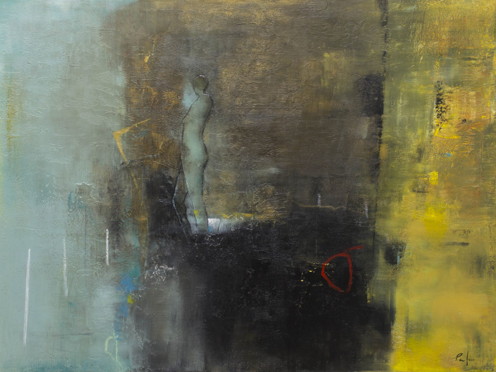 """Poulin, """"Les Courant De Tes Reves"""", Mixed Media on canvas, 36 x 48 in."""