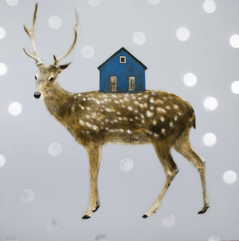 "Anke, ""Blue House"", Mixed Media on Wood, 60 x 60 in."